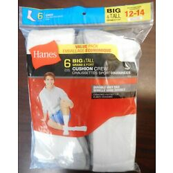 ONE HANES PACK OF 6 PAIR MENS BIG&TALL CUSHION CREW SOCKS WHITE/GREY SIZE 12-14