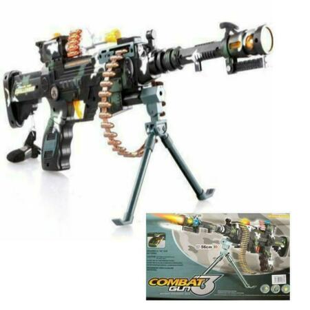 img-NEW Combat 3 Army Gun Commando Machine Pistol With Lights And Sounds Kids Toy UK
