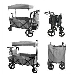 Kyпить GREY Collapsible Folding Utility Beach Wagon Push Cart Top Canopy Stroller на еВаy.соm