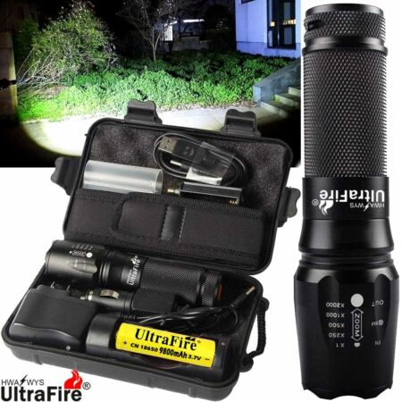 img-Powerful Zoom 250000LM Flashlight 18650 T6 LED Tactical Military Torch Headlamp