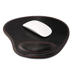 Londo Leather Oval Mouse Pad with Wrist Rest Black