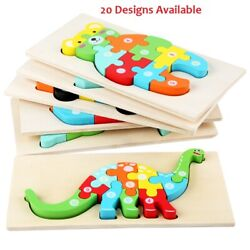 Kids Jigsaw Puzzles Montessori Numbers Learning Prek Toys Wood Shapes Colors Fun