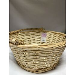 Spritz Natural Wood Color Wicker Basket With movable Handle 14.5