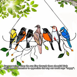 Kyпить Multicolor Birds on a Wire High-Stained Glass Suncatcher Window Panel Home Decor на еВаy.соm
