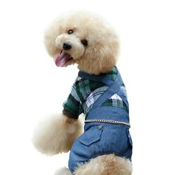One Tail Four Paws Plaid and Denim Thick Bodysuit, Large, Olive Green