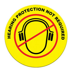Floor Decals Hearing Protection Not Required Yellow Black Anti-Slip Round Shape