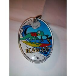 Kyпить Vintage Unused Hawaii Acrylic Aloha Gecko Lizard Key Ring Keychain Surfing Wave на еВаy.соm