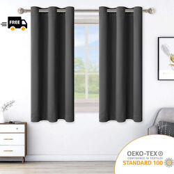 2 Panels Blackout Curtains Thermal Insulated with Grommet Drapes for Bedroom
