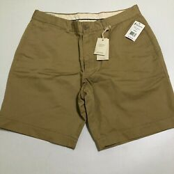 OOBE Mens Brown NWT $128 Shorts Flat front 34 x 8.5 Cotton Linen Blend