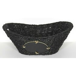 Oval Seagrass Woven Basket with Chalk Board and Cut Out Handles 16.5 x 12 x 6.5