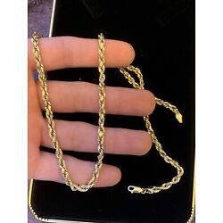 Kyпить 14k Yellow Gold 4mm Diamond Cut Rope Chain Necklace w Lobster Clasp- 20