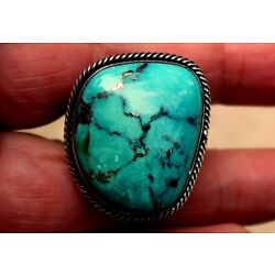 Kyпить BIG Kevin Yazzie Navajo Sterling Silver & Turquoise Stone With Mica Ring на еВаy.соm