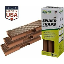 RESCUE! Spider Traps Double - Sided Glue Traps Non - Toxic 3 Traps Ready to Use