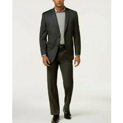 Marc New York Andrew Marc Men's Classic-Fit Charcoal Gray Solid Suit 44L/37 $350