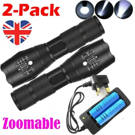 img-2Set High Powered Tactical Torch Rechargeable LED Flashlight Military Work Light