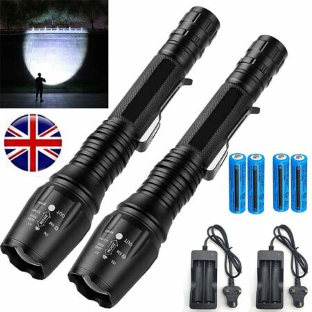 img-2X High Powered 990000Lumens LED Flashlight Tactical Military T6 Torch Zoomable