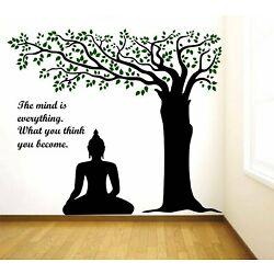 'Lord Buddha Under Tree and Quote on Mind' Extra Large Size (Pack of 1)