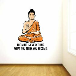 'Peaceful Buddha and Quote on Mind' Large Size (Pack of 1) Wall Sticker