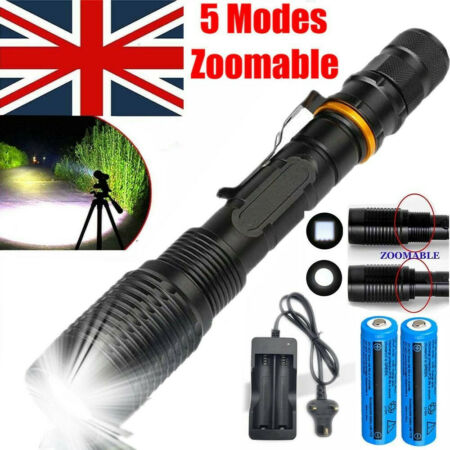 img-900000LM Super Bright Tactical T6 LED Flashlight Outdoor Torch Lamp Rechargeable