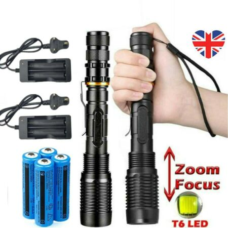 img-2PC 990000Lumens T6 Torch Tactical Military LED Flashlight Rechargeable Zoomable