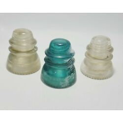 Lot of 3 Hemingray Glass Insulators   Size 42   2 Clear & 1 Blue   Made in USA