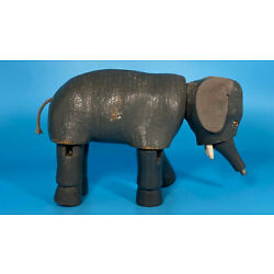 Vintage Schoenhut German Hand-Painted Wood Circus Articulated Elephant Toy, 1910