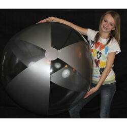 48'' CRYSTAL CLEAR & SILVER Inflatable Beach Ball - Glossy Vinyl Pool Toy