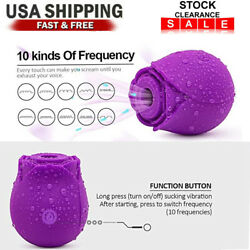 10 Speeds Women Rose Massage Suction Breast Enlarger Massager Cup Rechargeable