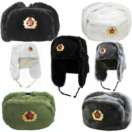 img-Russian Trapper Hat With Soviet Badge Faux Fur Ushanka Cossack Hat Winter Cap