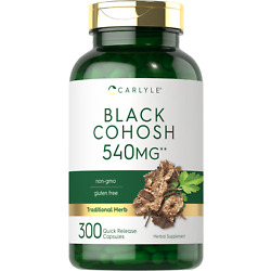 Black Cohosh 540mg   300 Capsules   Root Supplement   Non-GMO   by Carlyle