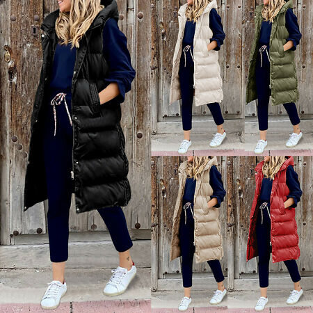 img-Women's Long Winter Coat Vest With Hood Sleeveless Warm Quilted Vest Down Jacket