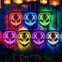 Halloween LED Mask Clubbing Light Up Costume Rave Cosplay Party Purge 3 Modes