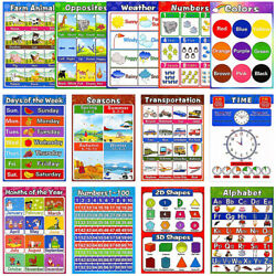 13pcs Educational Preschool Posters for Baby Kids Toddlers Early Learning Charts