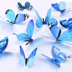 Butterfly Wall Decals, 24 Pcs 3D Butterfly Removable Mural Stickers Wall Decal
