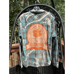 Upcycled Clemson Go Tigers Distressed Turquoise Plaid Chambray Shirt Sz M