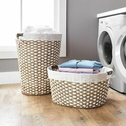 Braided Seagrass Laundry Hamper with Handles, Laundry Hamper Storage Basket