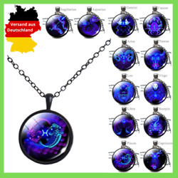 Necklace Zodiac Sign Pendant Stainless Steel Gift Cabochon Ladies Men's 1