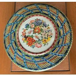 Vintage Embossed Colorful Round Tin container Holland Floral