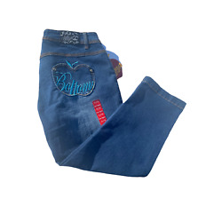 NEW Apple Bottom Jeans Capris Denim Size 11/12 pocket fitted blue embroidered