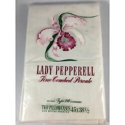 Lady Pepperell Fine Combed Percale Two Pillowcases Size 45 X38.5  White