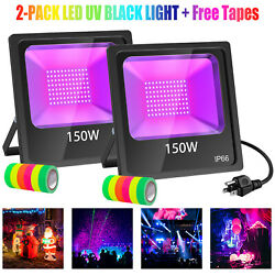 2-Pack 150W UV LED Black Lights Floodlight Halloween Party Stage Club Waterproof