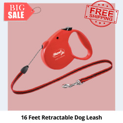 Flexi Retractable Dog Leash Cord 16 Ft Small Red, Heavy Duty Leash and Harness