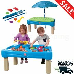 Kids Sand And Water Table With Cover Umbrella + 6 Pcs Accessory Set Playard New