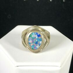 Vintage Whitney Kelly Sterling Silver Ring Fire Opal Inlay Mosaic Boho Sz 8 925