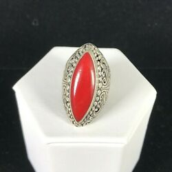 Vintage Sterling Silver Ring Deep Red Stone Long Deco Ornate Scroll Beaded Sz 6