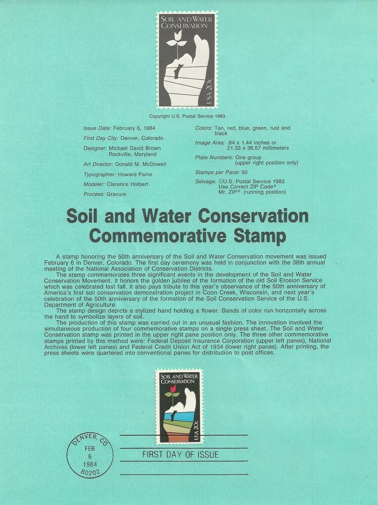 2074 soil water conservation 1984 souvenir page ebay for Soil and water facts