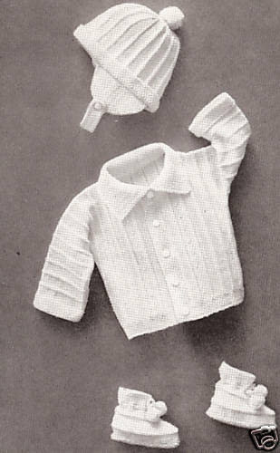 Vintage Knitting Pattern To Make Baby Boy Set Hat Sweater