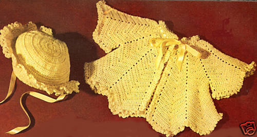Vintage Crochet PATTERN to make Baby Sweater Set Sacque ...