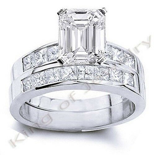 3 48 Ct Emerald Cut Diamond Bridal Set