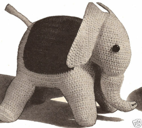 Free Crochet Pattern Stuffed Animals : Elephant Stuffed Animal Toy Crochet Pattern Vintage eBay